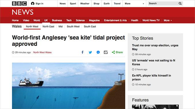 Screenshot of an article on Minesto at the BBC's web site