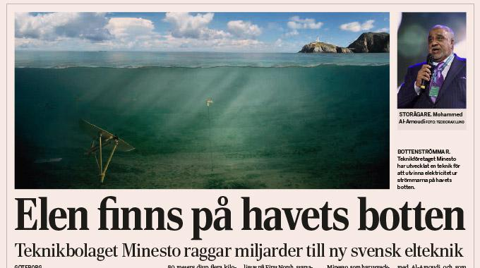 Illustration of Holyhead Deep in an article on Minesto in Dagens Industri, Scandinavia's biggest financial newspaper