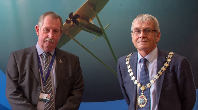 Cllr Glyn Haynes, Holyhead Town Council and Cllr Keith Thomas, Mayor of Holyhead at the Unveiling Event of Minesto's first utility-scale device in Holyhead, Wales.