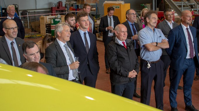 Guests at the Unveiling Event of Minesto's first utility-scale device in Holyhead, Wales.