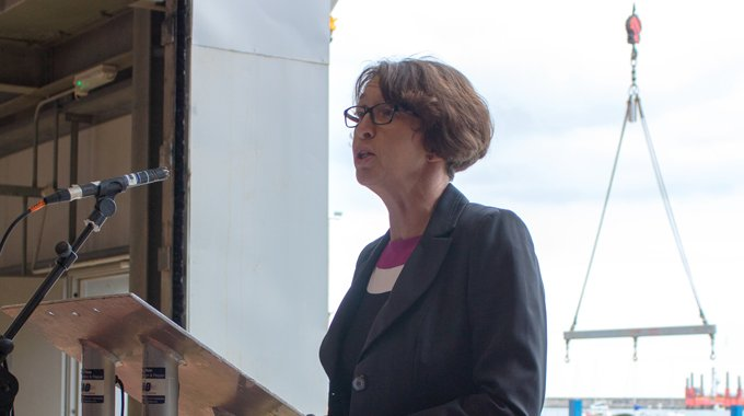 Minesto's Louise Marsden at the Unveiling Event of Minesto's first utility-scale device in Holyhead, Wales.