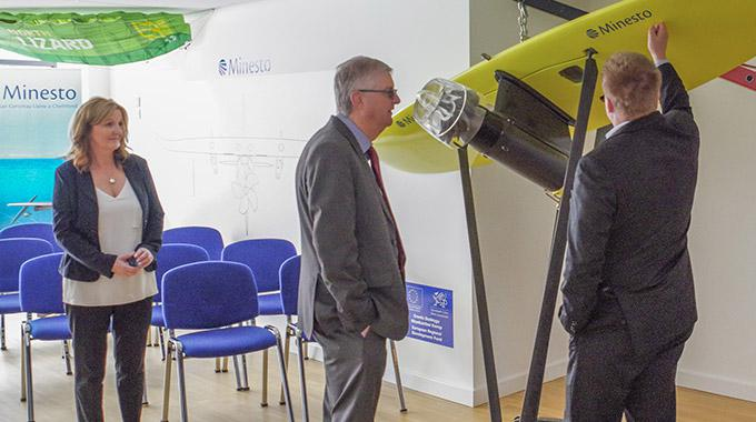 Mark Drakeford AM, Cabinet Secretary of the Welsh Government visits Minesto in Holyhead