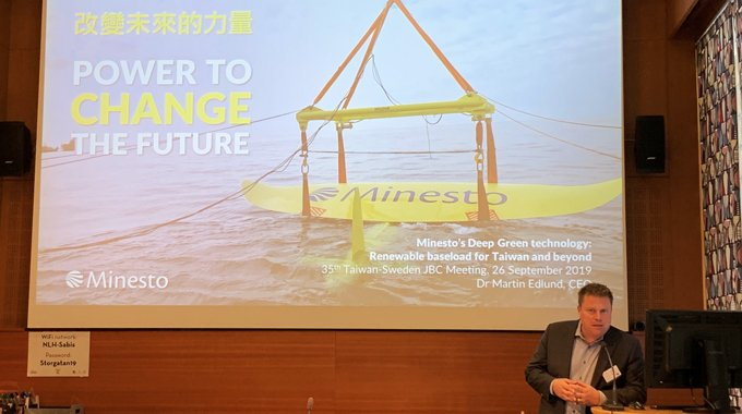 Minesto CEO Dr Martin Edlund presents Minesto's Deep Green technology: Renewable baseload for Taiwan and beyond