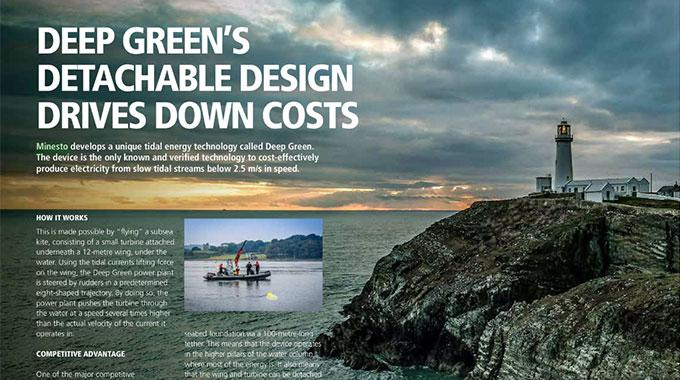 Screen capture of an editorial article on Minesto in Wave and Tidal Energy Network Magazine February 2017
