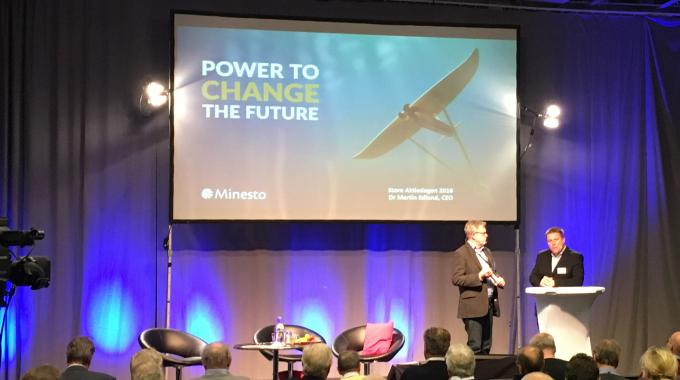 Dr Martin Edlund, CEO of Minesto, presenting the company at Stora Aktiedagen 2016 in Gothenburg.