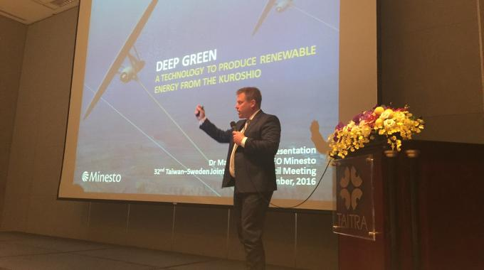 Dr Martin Edlund presents Minesto at the Taiwan-Sweden Joint Business Council Meeting 2016