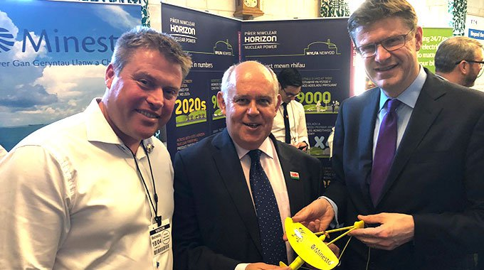 Minesto's CEO Dr Martin Edlund meets with Albert Owen MP and Secretary of State Greg Clark during the Anglesey Day in the House of Commons 19th of April 2018.