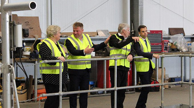 Minesto's CEO Dr Martin Edlund COO David Collier guide Ken Skates AM during the Cabinet Secretary's visit to Holyhead, Wales. Photo: Minesto