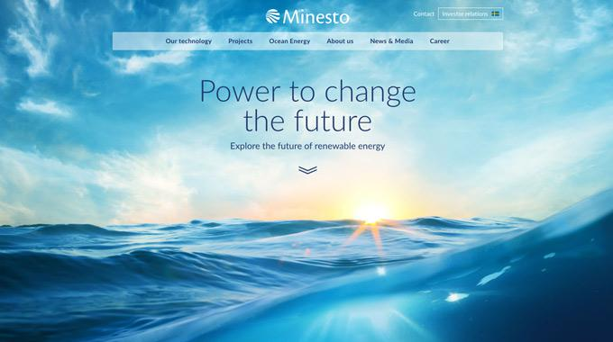 Screen capture of Minesto's new web site