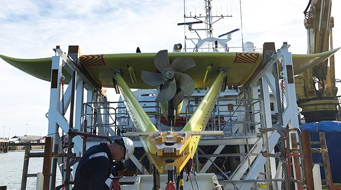 Minesto's marine energy converter DG500 during its commissioning program in the Holyhead Deep, Wales