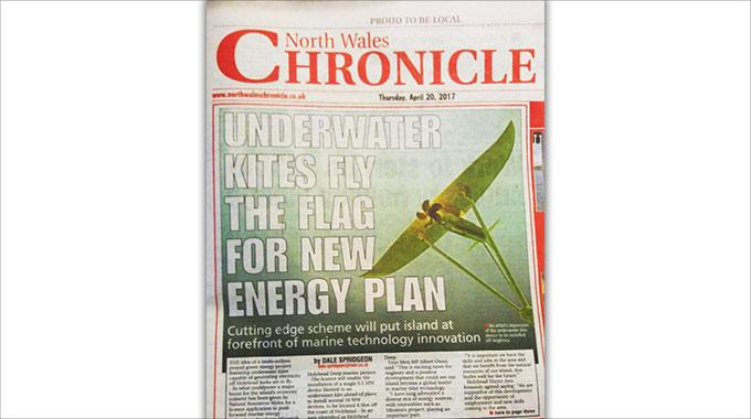 Photo of the North Wales Chronicle's first page, featuring Minesto's Deep Green and and article on Holyhead Deep
